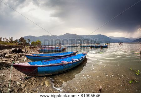 Boats At Pokhara Lake