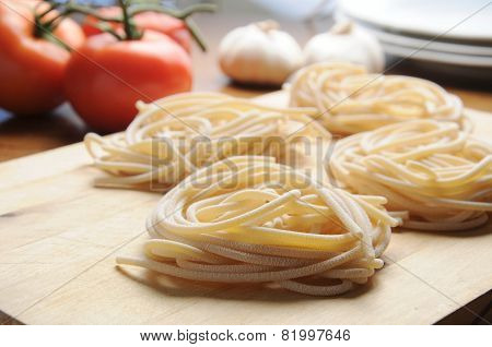 Pici Tuscan typical Tuscan pasta with tomato poster