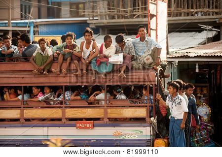 Big Buses Are Common Site In Myanmar.