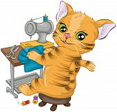 An Illustration of a Cat Sewing with Clipping Path poster