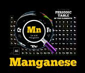 Periodic Table of the element. Manganese, Mn. Vector illustration on black poster