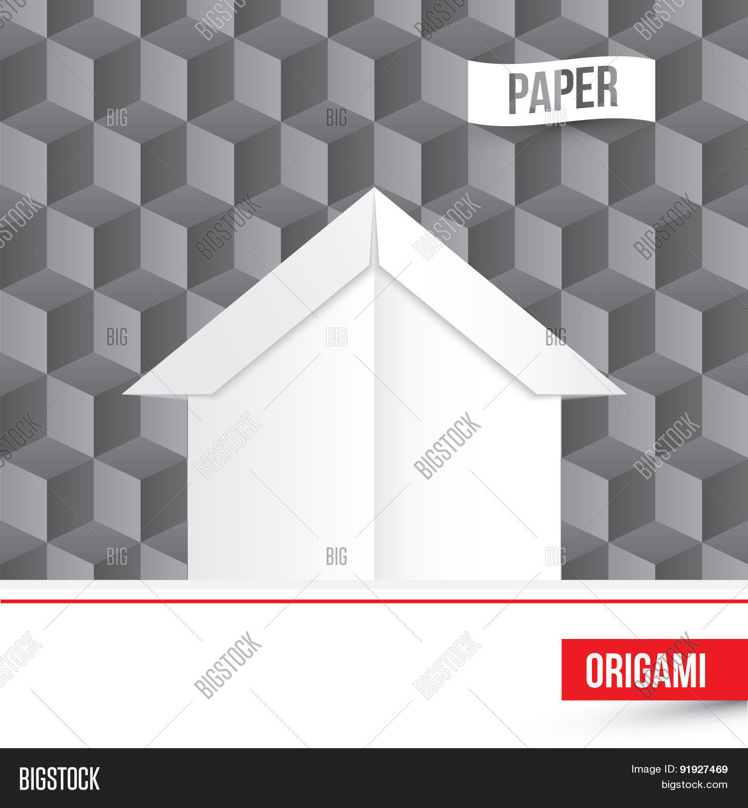 Vector Paper Origami House Icon On 3D Cube Background Company Logo Template