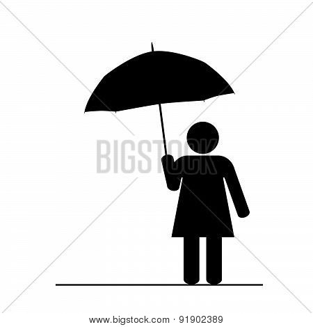 Girl With Umbrella Black Vector