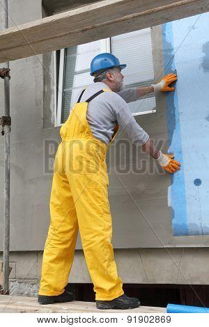 Styrofoam Facade Insulation, Installing Mesh