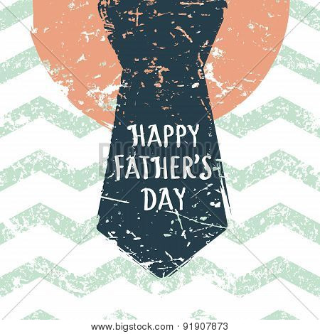 Happy Fathers Day, Vector Greeting Card. Zigzag Stripe Seamless Pattern With Mens Necktie. Abstract