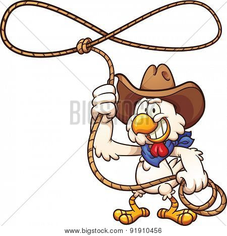 Cowboy chicken with lasso. Vector clip art illustration with simple gradients. All in a single layer.