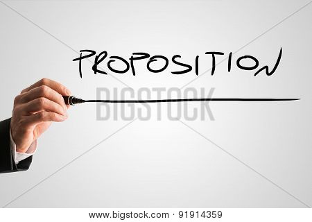 Businessman Writing Underlined Proposition Text