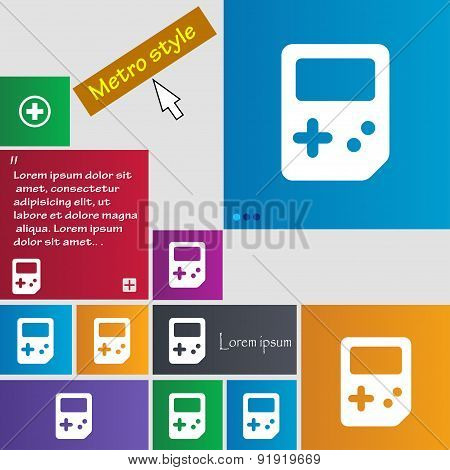 Tetris Icon Sign. Metro Style Buttons. Modern Interface Website Buttons With Cursor Pointer. Vector