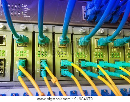 fiber optic cables. Data Network Hardware Concept.