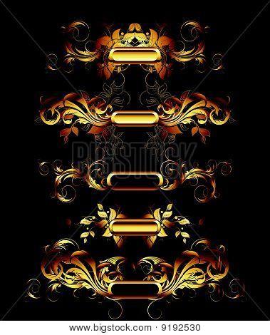 Set of goden design elements