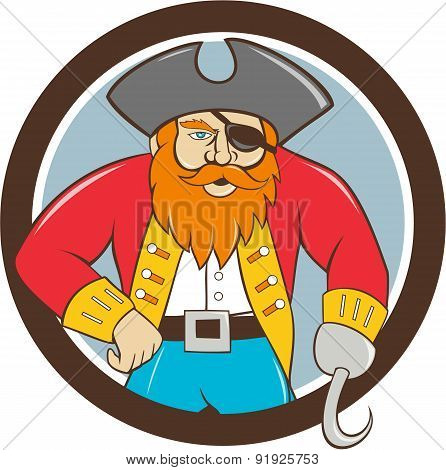 Captain Hook Pirate Circle Cartoon