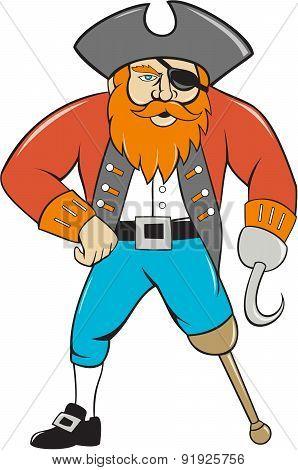 Captain Hook Pirate Wooden Leg Cartoon