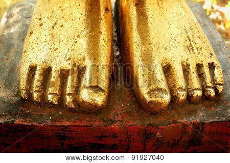 Gold Foot Of Buddha Statue