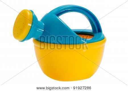 Yellow-blue Watering Can Toy On White Isolated Background