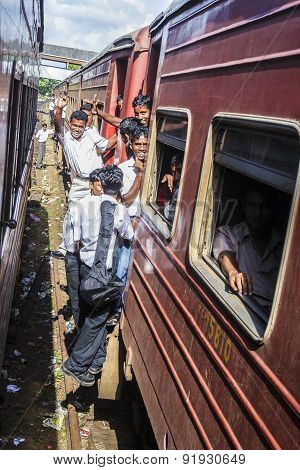 Pupils Riding The Train To Colombo