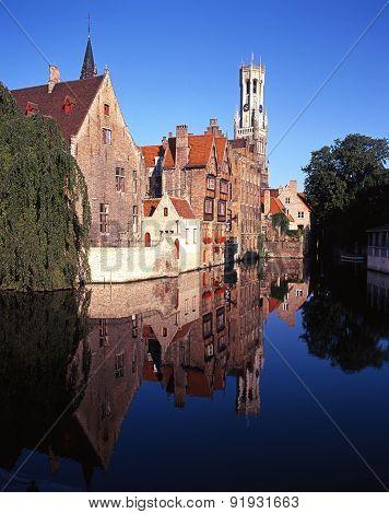 Canalside buildings, Bruges.