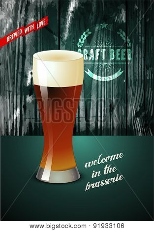Vintage beer poster with glass of beer. Vector illustration with wooden background.