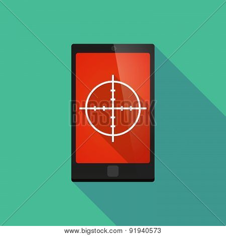Long Shadow Phone Icon With A Crosshair