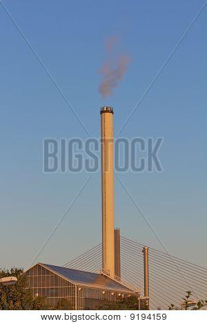 Smokestack In Dawn