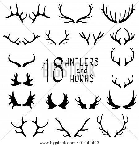 Set of 18 deer antlers and horns