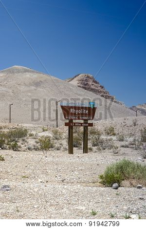 Site of the Ghost City Rhyolite in Death Valley in Nevada State in United States of America. Vertical Image Composition poster