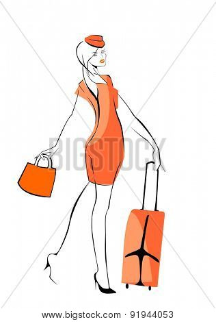 vector image of flight attendante, isolated on white