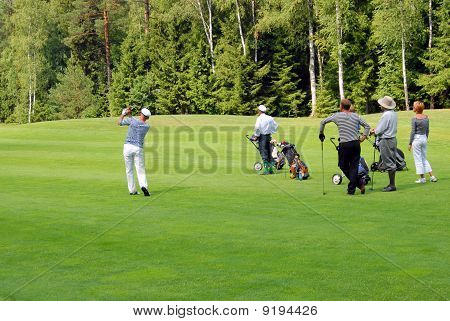 Group Of Golfers At Country Club