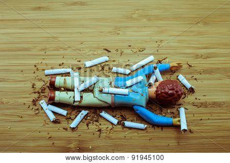 Cigarette kills man warning concept for stop smoking poster
