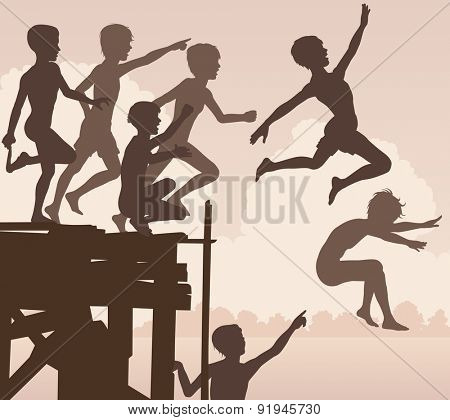 EPS8 editable vector cutout illustration of children jumping off a wooden jetty