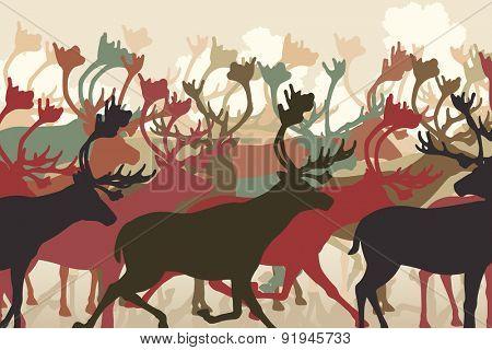 EPS8 editable vector illustration of a reindeer or caribou herd migrating