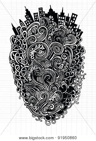 Hipster Hand drawn Vector pattern. Abstract background with linear doodles