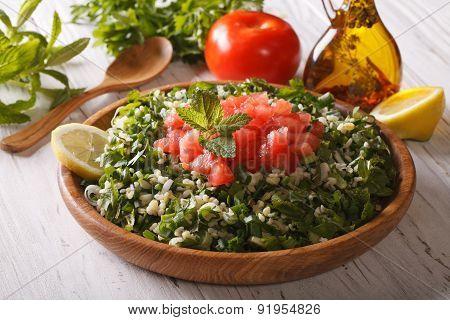 Arabic Salad Tabbouleh In A Wooden Bowl, Horizontal