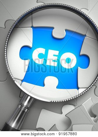 CEO - Puzzle with Missing Piece through Loupe.