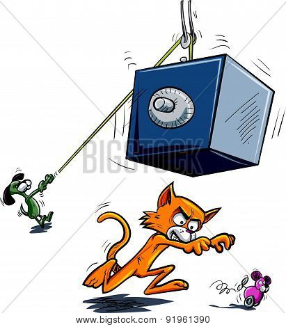 Cartoon cat about to be crushed by falling safe.Isolated on white