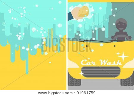 Car wash banner for advert. Yellow automobile with water and hand sponge washing. Vehicle cleaning and polish service flyer poster