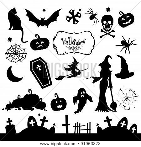 Set Of Silhouettes For Halloween Party. Funny And Scary Silhouettes.