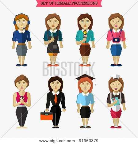 Set Of Female Professions. Meteorologist, Hairdresser, Interview