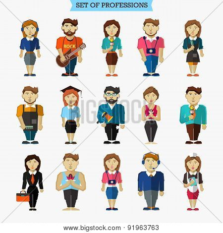 Set Of 15 Professions. Meteorologist, Hairdresser, Interviewer,
