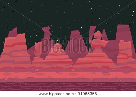 Seamless Night Desert Death Canyon Nature Concept Flat Design Landscape Background Template Vector I