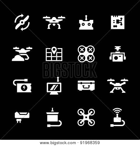 Set icons of quadrocopter hexacopter multicopter and drone isolated on black poster