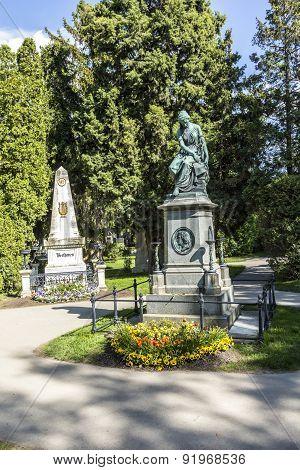 Mozart And Beethoven Memorial In Zentralfriedhof, Vienna, Austria.