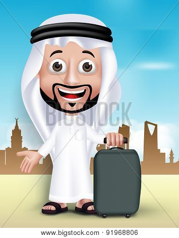 Realistic 3D Handsome Saudi Arab Man With Traveling Bag