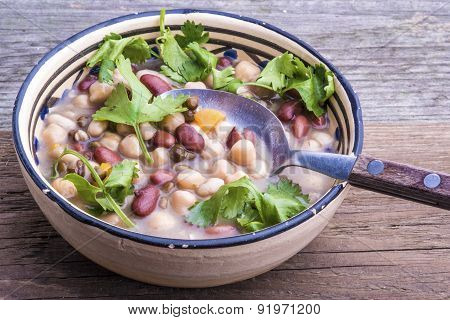 Mixed Beans Soup With Fresh Cilantro.