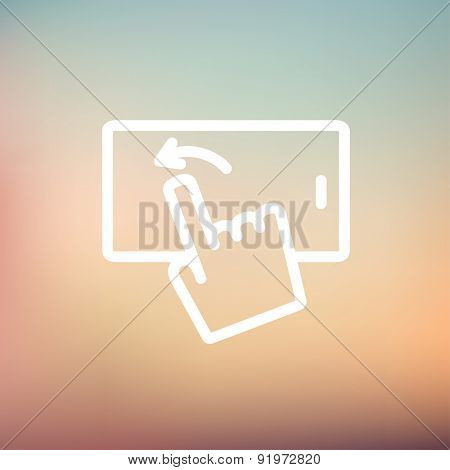 Hand browsing in cellphone icon thin line for web and mobile, modern minimalistic flat design. Vector white icon on gradient mesh background.