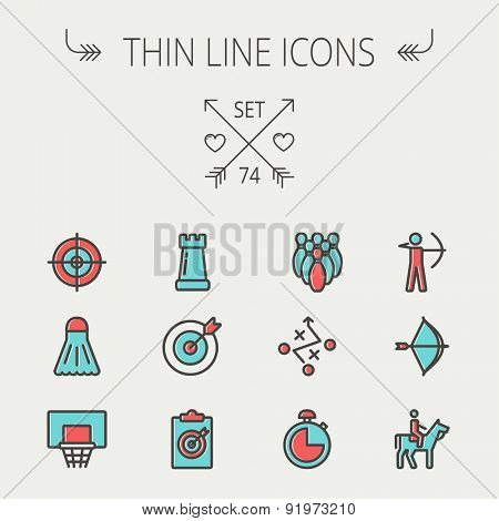 Sports thin line icon set for web and mobile. Set includes -chess rook, target board, crosshair, shuttlecock, basketball hoop, bowling pins, stopwatch, archery, bow and arrow, horse riding icons
