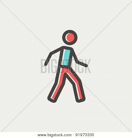 Walking exercise icon thin line for web and mobile, modern minimalistic flat design. Vector icon with dark grey outline and offset colour on light grey background.