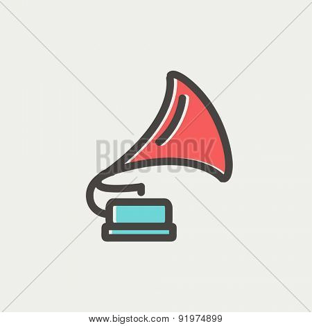 Phonograph icon thin line for web and mobile, modern minimalistic flat design. Vector icon with dark grey outline and offset colour on light grey background.