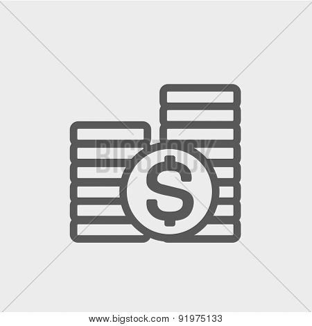 Stack of dollar coin icon thin line for web and mobile, modern minimalistic flat design. Vector dark grey icon on light grey background.