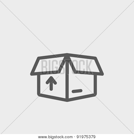 Box with arrow up inward, incoming loading icon thin line for web and mobile, modern minimalistic flat design. Vector dark grey icon on light grey background.