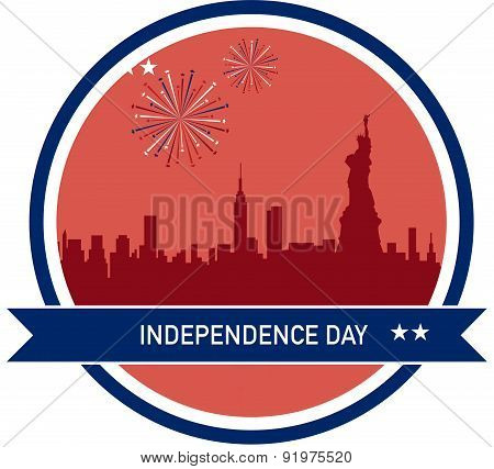 Independence day of America, NY City skyline